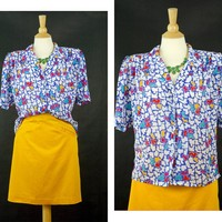 Vintage 80s Blouse, Geometric Pattern Shirt, Abstract Colorful Top, Short Sleeve, SK & Company, Sheer Polyester Button Up, Size Medium