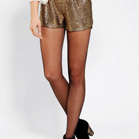 Staring At Stars Metallic Tulip Hem Short - Urban Outfitters