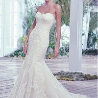 [195.99] Graceful Tulle Sweetheart Neckline Mermaid Wedding Dresses with Lace Appliques - dressilyme.com