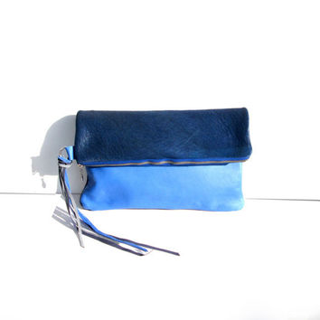 Calf Hair Leather Clutch // Fold over Purse Bag // Electric Blue // Birthday // Valentine Day's Gift