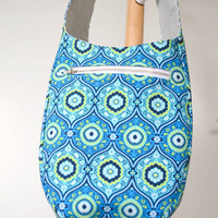 Hobo Bag - Sling - Crossbody Bag in Bohemian Blues with a pop of Yellow