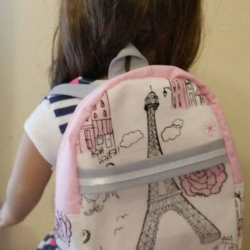 American Girl Doll, 18 in doll- Paris backpack