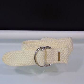 Ralph Lauren Belt Double Ring Buckle Woven Nylon Ivory Silver Hardware Sz XL 2XL