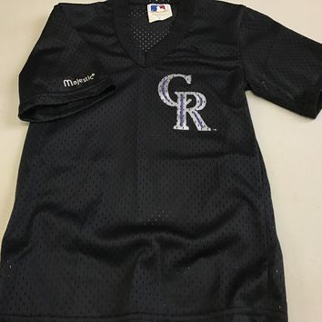 VINTAGE YOUTH COLORADO ROCKIES BLACK MESH MAJESTIC BASEBALL JERSEY