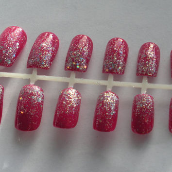 Glitter Gradient Nails in ANY COLOR - False, Artificial, Acrylic, Press-On