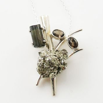 Pyrite Rough, Black Tourmaline Rough & Smoky Quartz Sterling Silver Pendant