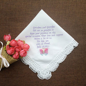 Grandparents of bride personalized embroidery handkerchief wedding gift with butterfly  waterdroplet bead decoration  and handmade envelope