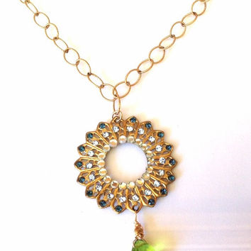 Gold Crystal Necklace- Filigree Gold Necklace - Peridot Crystal Necklace - Sparkly Gold Pendant - Gift For Her - Statement Necklace -