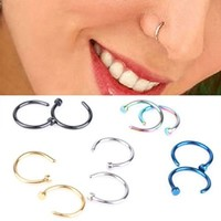 CHN'S 10PCS Hot Colorful Stainless Steel Nose Open Hoop Ring Golden Earring Body Piercing Studs Body Slave Jewelry