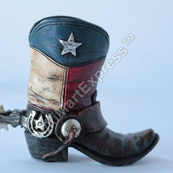 Mini Texas Flag Boot Toothpick Pen Holder Vase Tiny Cowboy Boot Decoration