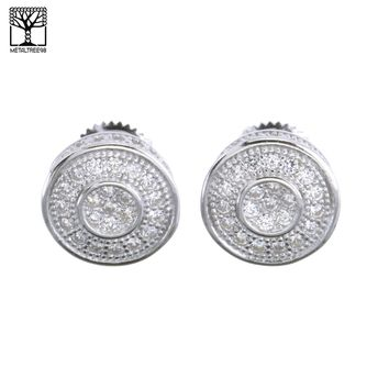 Jewelry Kay style Men's Iced Out Sterling Silver Pave Double Round CZ Screw Back Earrings SHS 480S