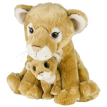 "11 and 5"" Stuffed Lion or Cougar Mom and Baby Plush Floppy Zoo Animal Family Collection"