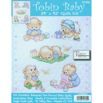 "Baby Bears Tobin Stamped Quilt Cross Stitch Kit 34""X43"""