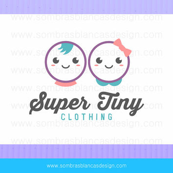 OOAK Premade Logo Design - Twin Kids - Perfect for a children clothing line or a baby accessories shop