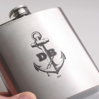 Personalized Anchor Flask with Initials - Custom 6oz or 8oz Liquor Hip Flask