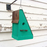 Birdhouse with Recycled Bike Chain Perch Rusty Metal Roof Emerald Green Handmade by Bacon Square Farm