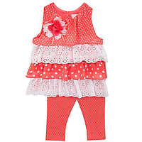 Rare Editions 3-24 MonthsTiered Dress & Pindotted Leggings Set - Coral