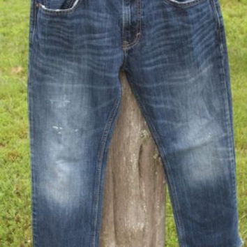 American Eagle Straight Distressed Blue Denim Jeans Men's Size 31W x 32L Paint!