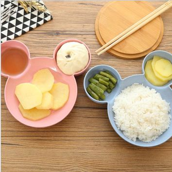 2017 Cute Cartoon Mickey Children Bowl Dishes Baby Feeding Bowl Baby Dinner Food Container Fruit Plate Children's Tableware Set