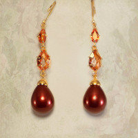 Shell Pearl Wedding Earrings Adorned with Orange Quartz from LucyAlia's Bridal Closet