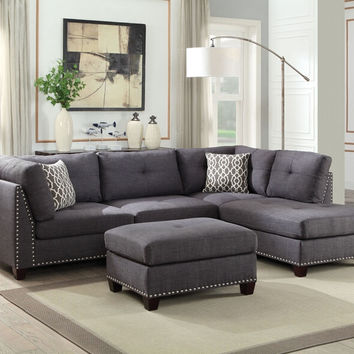Acme 54385 3 pc Laurissa light charcoal linen fabric sectional sofa and ottoman