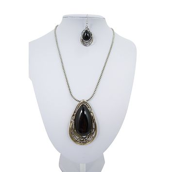 Gypsy Bohemian Chunky Black Onyx Stone Pendant Necklace and Earrings Set