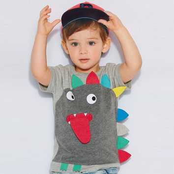 retail gray boy T-shirts cartoon monster children t shirts kids clothes boy tops and tees boy summer style kids clothing