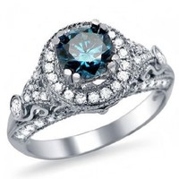 1.30ct Blue Round Diamond Engagement Ring 14k White Gold Vintage Style