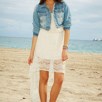 Strapless Lace High-Low Dress