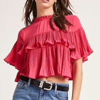 Pleated Flounce Crop Top