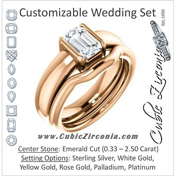 CZ Wedding Set, featuring The Charlotte engagement ring (Customizable Bezel-set Emerald Cut Solitaire with Thick Band)