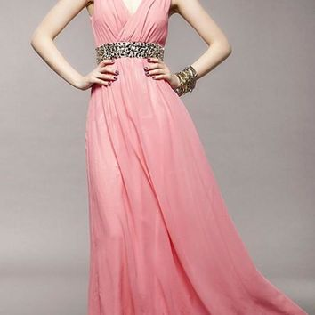Pink Patchwork Rhinestone Zipper Draped Plunging Neckline Elegant Party Maxi Dress