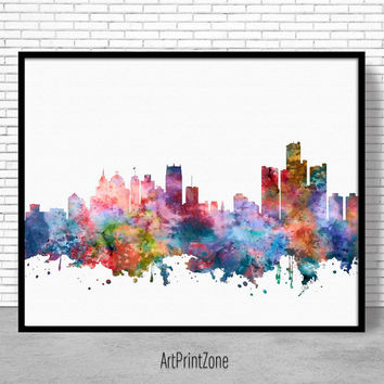 Detroit Skyline, Detroit Print, Detroit Michigan, Office Decor, Office Art, Watercolor Skyline, Watercolor City Print, ArtPrintZone