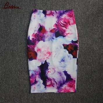 LMFET7 S-3XL New 2016 Fashion Women Slim Skirts Fitted Knee Length Runway Pencil Skirt High Waist Printed Summer Bodycon Wrap Skirts