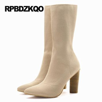 High Heel Luxury Brand Shoes Women Slim Boots Stretch Pointy Ladies Chunky Pointed Toe Sock Slip On Beige Mid Calf Autumn Female