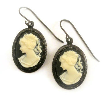 Cameo Earrings, Antique Cameo Dangle Earrings, Black Ivory White Resin Earrings, Victorian Earrings - Follies