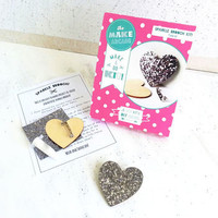 Glitter Heart Brooch Craft Kit