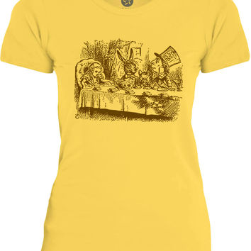 Big Texas Alice in Wonderland - Mad Hatters Tea Party (Brown) Womens Fine Jersey T-Shirt