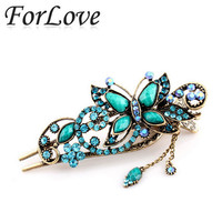 retro vintage butterfly hair barrettes claws hairpins duck clips rhinestones metal crystal accessories jewelry wedding F010
