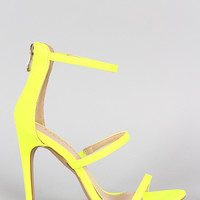 Liliana Neon Triple Straps Single Sole Heel