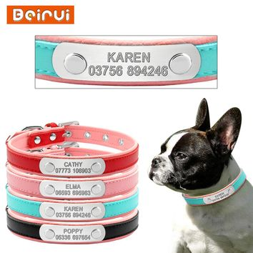 Personalized Leather Dog Collars Adjustable Padded Customized Pet Name ID Collar Free Engraving For Small Medium Large Dogs Cats