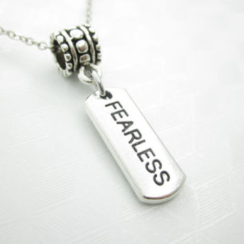 Fearless Necklace, Word Pendant, Stamped Charm Necklace, Engraved, Antique Silver, Affirmation Charm, Word Charm, Fits Pandora X053