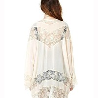 Gypsy Women Vintage Hippie Boho Kimono Cardigan Lace Crochet Jacket Tops Blouse