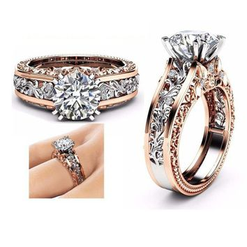 Beautiful Color Separation Rose Gold Aneis Wedding Engagement Floral Ring