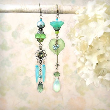Mojito - Mint Lime Chartreuse Green Dangle Earrings, Asymmetrical Earrings, Czech Glass Swarovski, Misty Aqua Seafoam Spring Summer Bohemian