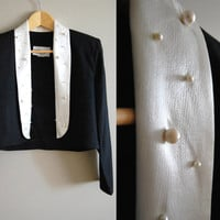 The Nah Nah - Vintage 80s Tuxedo Black and White Pearl Jacket Top
