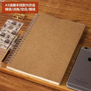 Craft Paper Cover Dot/Line/Blank A5 Size Notebook Spiral Notebook