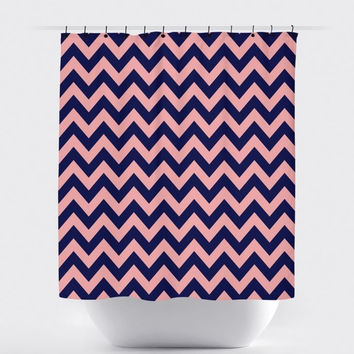Pink/Navy Chevron Shower Curtain