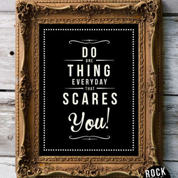 Retro Inspirational Quote Giclee Art Print - Vintage Typography Decor - Customize - Scares You - Free To Wear Sunscreen UK
