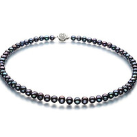 Bliss Black 6-7mm A Quality Freshwater Pearl Necklace-16 in Chocker length